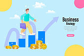 A business person standing near the arrow. looking at the target Success, success, business vision, career goals. Flat vector illustration