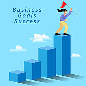 Businesswoman holding a flag on top of the column graph. success, achievement and challenge. Business concept of goals. The way to achieve the goal. move up the motivation. Vector illustration.