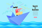 Business people are floating on a paper boat. Investments and search for business ideas. Vector illustration.