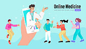 distant online medicine consultation smart medical. Doctors Communicating with Patients through Computer and Mobile Phone. Vector Illustration.