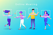 Group video call, virtual window frames. young characters having an online meeting. social distancing. remote team. Online Conference. vector illustration.