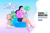 young women in video conference in laptop. Working woman in the living room. Remote work. stay at home, female sitting and working on laptop. people with computer. Flat design vector illustration.
