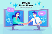 Stay at home during the coronavirus epidemic. Female employee works from home. Vector illustration in flat style.
