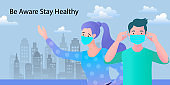 Men and women wear masks to prevent infection and pollution. City background. Concept of coronavirus quarantine vector illustration.