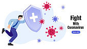 Man reflect bacteria attack with shield. Health bacteria virus protection. Medical prevention human germ. Vector illustration.