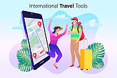 Online Travelling Illustration for landing page. Travel and vacation concept. Woman and man with a smartphone. Walk in the park in nature.