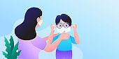 Teaching to wear mask properly. How to wear face mask. Protection against infections and viruses. Hygiene concept. Cartoon people character isolated illustration.