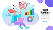 Concept of e-marketing, internet promo, digital promotion, online. Find people employer business concept. Vector Illustration, flat.
