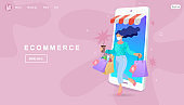 Banner, mobile app, landing page, woman carrying shopping bags, they used a mobile app on a smartphone.