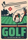 Golf tournament vector retro poster, sport game