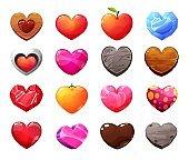Different materials cartoon vector hearts icons