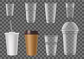Disposable plastic cups for fast food drink mockup