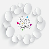 Happy Easter illustration. Paper eggs with shadow on a white background.