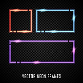 Set of colorful vector neon frames on dark background