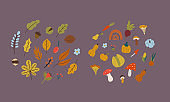 autumn leaves and nuts in flat style