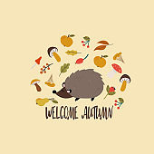 Hedgehog and set of autumn leaves and fruits postcard