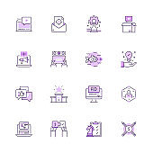 Simple Set of Marketing and Strategy Color Vector Line Icons