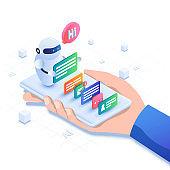 Mobile chatbot app isometric illustration