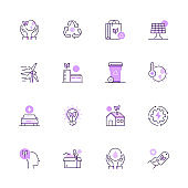 Simple Set of Ecology and Environmental Color Vector Line Icons
