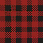 Lumberjack plaid seamless pattern. Vector textile template illustration. Dark red color.