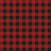 Lumberjack plaid seamless pattern. Vector textile template. Red color.