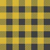 Lumberjack plaid seamless pattern. Vector textile template illustration. Yellow color.