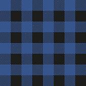 Lumberjack plaid seamless pattern. Vector textile template illustration. Dark blue color.