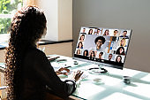 African American Watching Video Conference Webinar