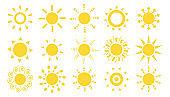 Set of sun icon vector flat illustration template.