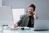 Receptionist Phone Call On Corporate Telephone