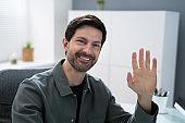 Corporate Virtual Job Interview. Business Man Waving