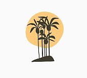 Hand drawn vector abstract stock graphic summer time cartoon,minimalistic illustrations logo element,with beautiful tropical palm trees island silhouette with sunset isolated on white background