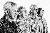Unhappy group of senior men and women