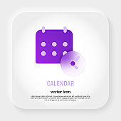 Calendar with clock icon in glassmorphism style. Deadline, reminder. Vector illustration.