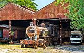 Rusty steam locomotive in Asuncion, Paraguay