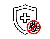 Immune system concept. Hygienic medical black linear shield protecting from coronavirus COVID-19 icon. Human immunity symbol. Corona virus 2019-ncov defense stop sign vector isolated illustration