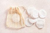zero waste eco friendly hygiene bathroom concept. reusable cotton pads in bag, makeup removal