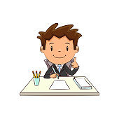 Businessman working at desk, happy cute child