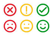 different moods smiles and check mark sign, vector icons set