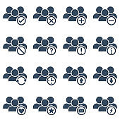 users group or team members with many different actions, vector outline icons set