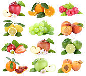 Food collection fruits apple orange berries apricots apples oranges fresh fruit isolated on white