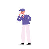 Vector illustration of sick man having dry cough on white