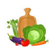 Bright vector illustration of colorful cartoon cutting board and vegetables.