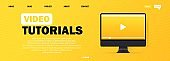 Video tutorials banner. Online education. Cource. Online video tutorials education button. Vector EPS 10. Isolated on white background