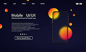Glassmorphism style. Smart phone template. Mobile UI UX design. Realistic glass morphism effect with set of transparent glass plates. Vector illustration