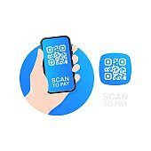 Scanning qr code on table and online payment, money transfer. Electronic digital payment with smartphone. Vector EPS 10. Isolated on white background