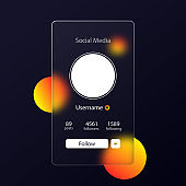 Glassmorphism style. Social media preview page. Internet profile information. Follow button. Photo mockup. Realistic glass morphism effect with set of transparent glass plates. Vector illustration
