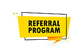 Referral program. Origami style speech bubble banner. Sticker design template with Referral program text. Vector EPS 10. Isolated on white background