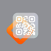 Qr code scan badge. Technology for instant payment or tech pay method without money. Glassmorphism style. Vector illustration. Realistic glass morphism effect with set of transparent glass plates
