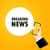 Breaking news. Smartphone with a bubble text. Poster with text Breaking news. Comic retro style. Phone app speech bubble. Vector EPS 10. Isolated on background